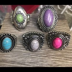 Set of 5 stretchy band rings NEW nickel FREE